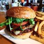 Pork Belly Burger with Bacon Jame, Swiss, and Arugula