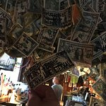 Just a TINY section of the money hanging from the ceiling
