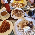 Pecan waffle and omelette