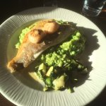 Seabass, pea risotto & wilted greens with 2 scallops