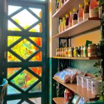 Vibrant walls, summer special menu and a rack for home made goodies