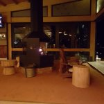 Stunning fireplaces with kalahari sand in the bar area