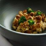 Risoni 'risotto', pickled golden enoki, broccolini, creme fraiche, mushroom floss