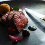 Eight score Sher Wagyu beef, smoked potato croquettes, mushroom, red wine garlic jam, ox tongue,