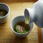 Japanese inspired oyster shooter, yuzu, cucumber and apple