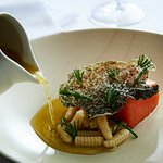 King salmon, puffed skin, golden broth, miso cavatelli, coastal Victorian greens