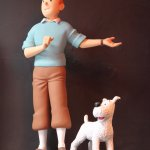 Tintin and Snowy greet you at the entrance. Standing next to the moon rocket.
