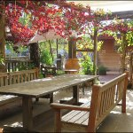 Seating outdoors for coffee and lunches