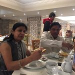 having breakfast at restaurant