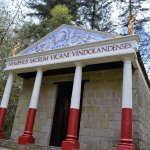 replica temple in the gardens at Vindolanda museum and fort