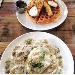 Chicken and Waffles along with Biscuits and Gravy