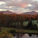View from the deck of sun setting over the Blue Ridge Mtns.