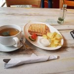 Breakfast at cafe hati
