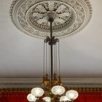 One of a pair of gas chandeliers, ca. 1855, in the Greek Revival double parlor