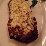Wonderful New York strip with gorgonzola crust!