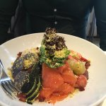 Salmon, avocado, beet, oysters, grape tomatoes, shrimp in delicious sauce