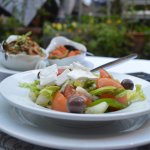 Greek Salad and Vegan Dish