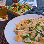 MIDDLE VILLAGE ALFREDO farfalle pasta served with family recipe creamy alfredo sauce