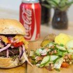 Mediterranean Burger with lemon potatoes and Fattoush Salad