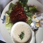 Blackened Salmon Caesar Salad and Chowder
