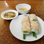 Summer Shrimp Roll $5.50 for 2 pieces w/tasty peanut sauce on side. The other is a sweet sauce..