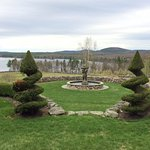 View from the back porch of the Maguire House showing fountain, topiary, and Mt. Watatick.