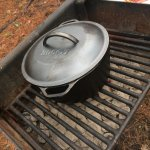 the charcoal grill by the cabin