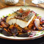 Pan Fried Hake & Lentils with Bacon