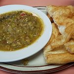 Green chile stew and fry bread