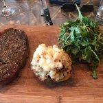 Steak, potatoes, salad