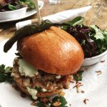 Shrimp and Chorizo Burger with Mixed Greens