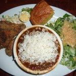 3 drumsticks, Smoked Chicken Andouille Gumbo, angula salad, & cornbread