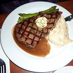 Rib-eye steak, asparagus, and buttery mashed potatoes