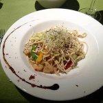 Prawn noodles in Oliva restaurant