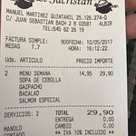 Menú del día a 14,90 €