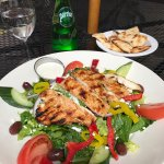 Greek salad with grilled chicken yummy and healthy!
