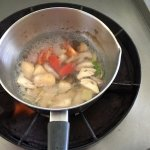 Soup mushrooms and vegetables on the boil
