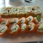 Crabby Patty Roll (top, green) and Catch of the Day Roll (bottom, orange)