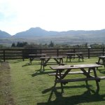 Beer garden at the Rhiw Goch , 500 yds from the village.