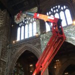 Repair work continues inside the cathedral