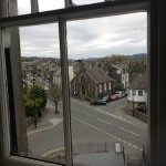 This was from our room looking out over the mainstreet the room had vaulted ceiling with beams t