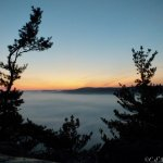 Sunrise from the top.  Great Barrington sleeps beneath the clouds.