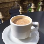 Cappuccino on the second floor balcony