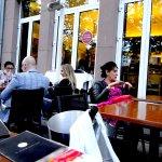 outdoor dining in front of restaurant