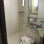 Small - shower low water pressure. Clean but VERY compact. Maid did a good job of cleaning, thou