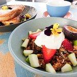 Granola with fresh fruit and vanilla bean yoghurt