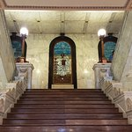 Sculpted Marble Staircase with Stained Glass Murals on Landing