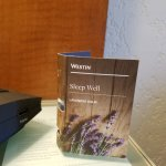 Complimentary lavendar oil on night stand