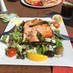 Overdone salmon & burnt asparagus salad