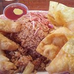 Fried shrimp, fried rice, fried wontons, and bbq pork.